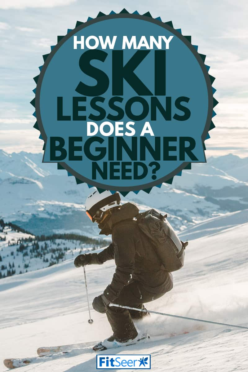 A skier riding on the slope of a snow mountain, How Many Ski Lessons Does A Beginner Need?
