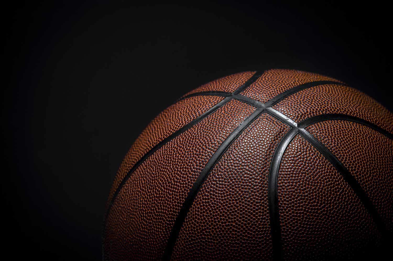 Closeup detail of basketball ball