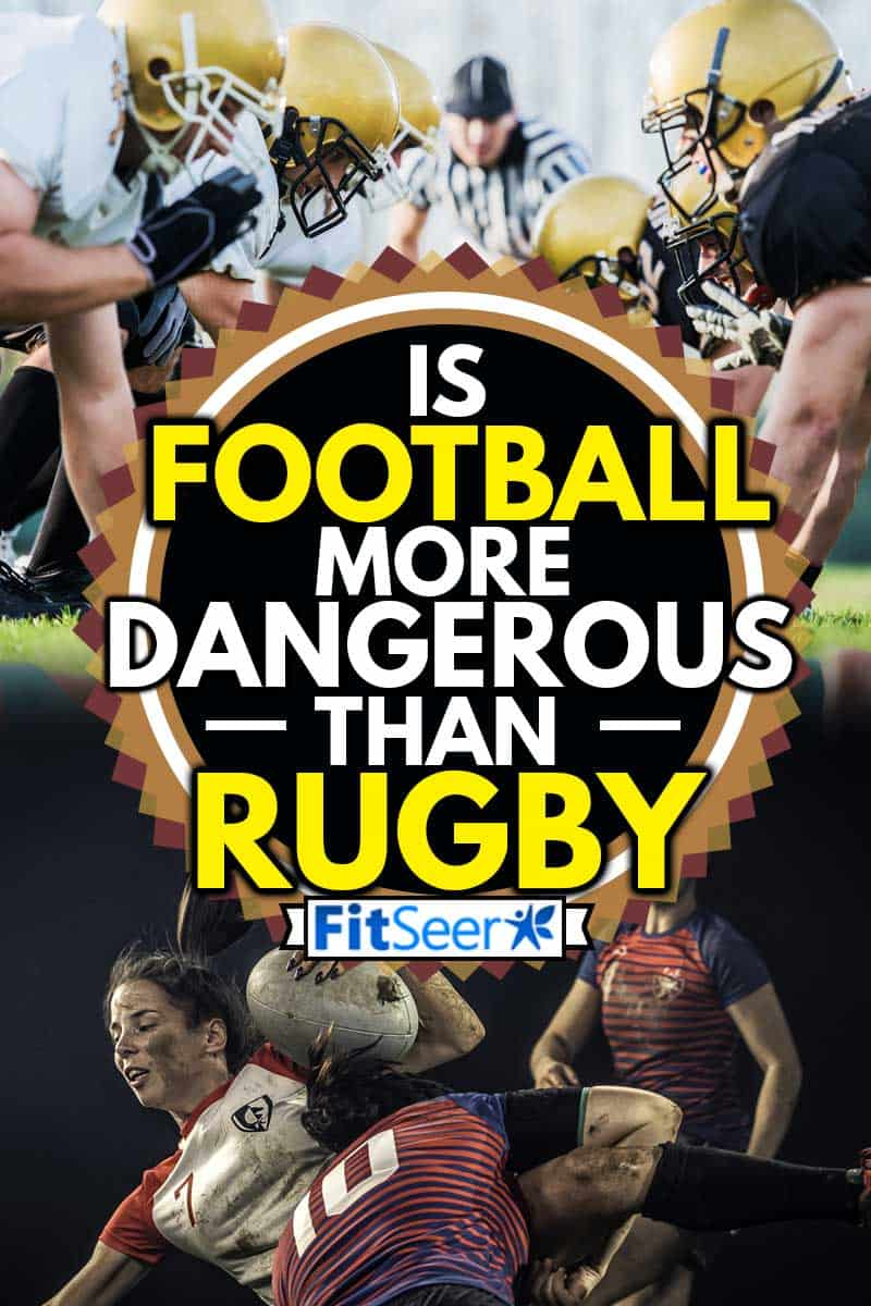 A collage of American football players starting a match and a Female rugby player getting tackled against a black background, Is Football More Dangerous Than Rugby?