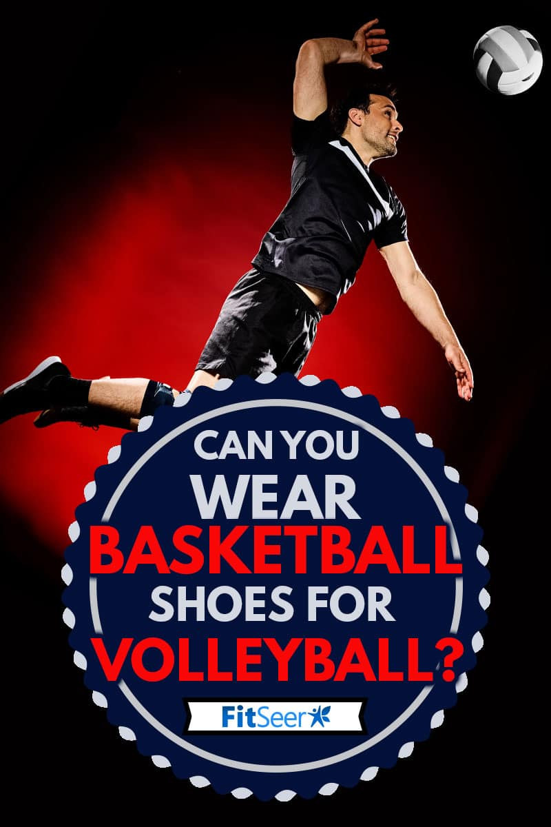 one caucasian volley ball player man wearing shoes isolated on colorful black background, Can You Wear Basketball Shoes For Volleyball?
