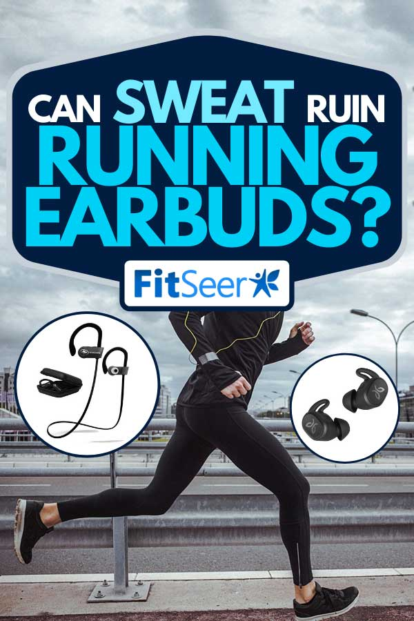 Collage of running earbuds with young fit man running while listening to music on the background, Can Sweat Ruin Running Earbuds?