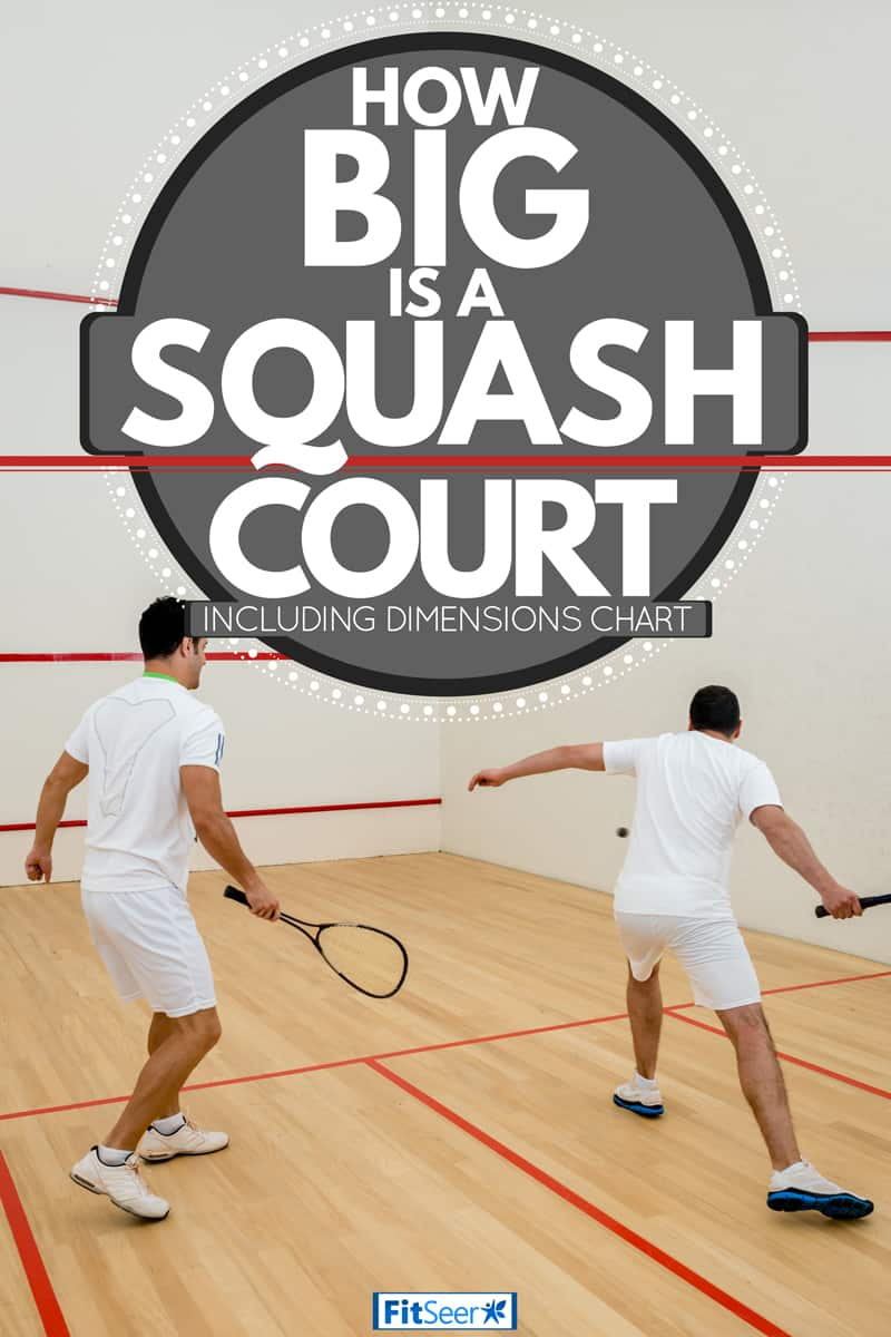 Raquetball players in white uniform playing in a squash court, How Big Is A Squash Court (Inc. Dimensions Chart)