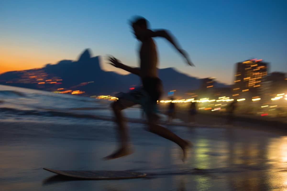 Sunset Silhouette Rio de Janeiro Skimboarder