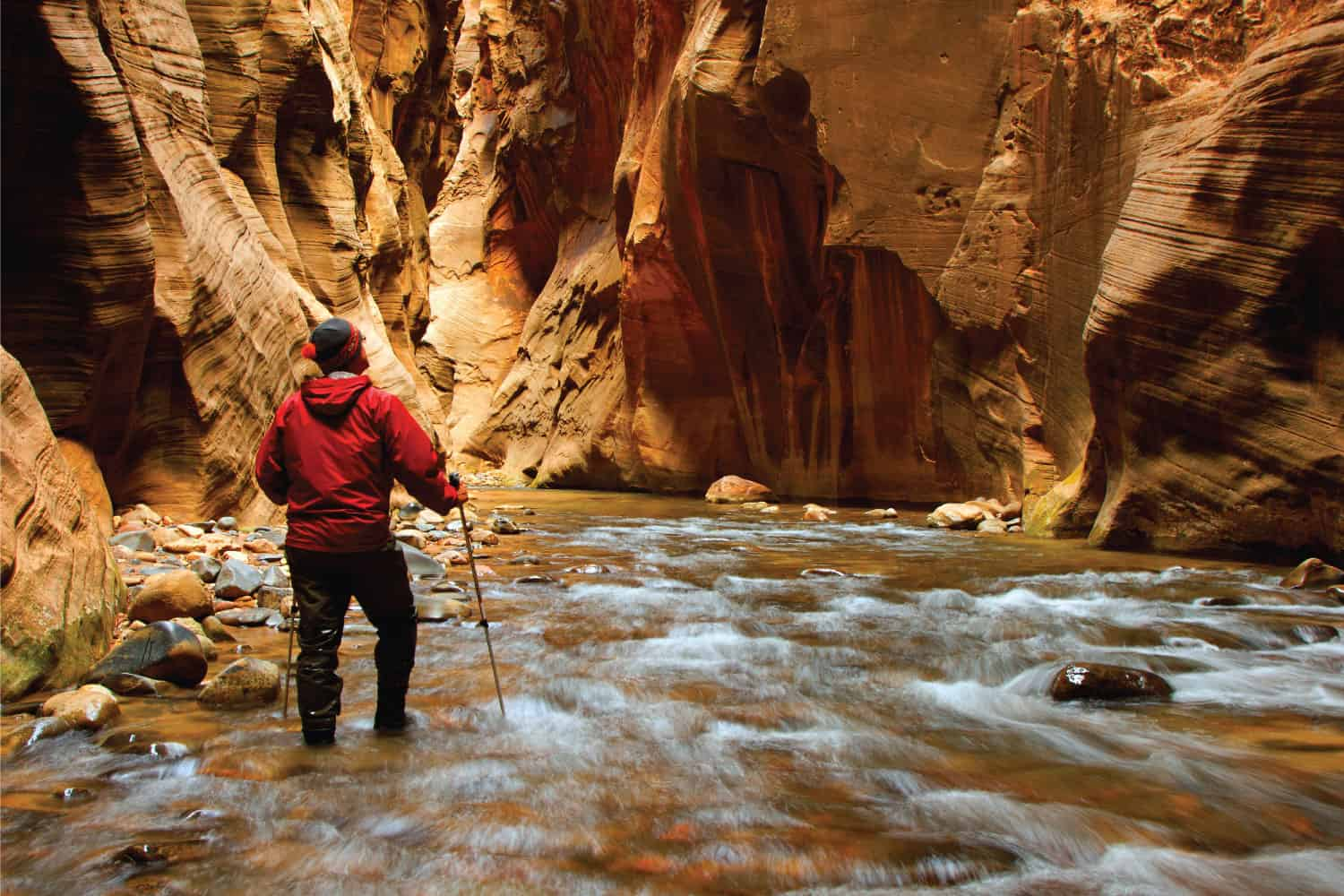 A man hiking into the narrows in Zion National Park, Utah USA