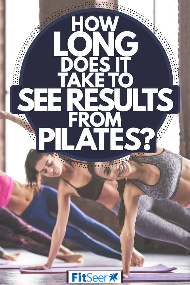 A group of women wearing sports bras and doing yoga at a gym, How Long Does It Take To See Results From Pilates?