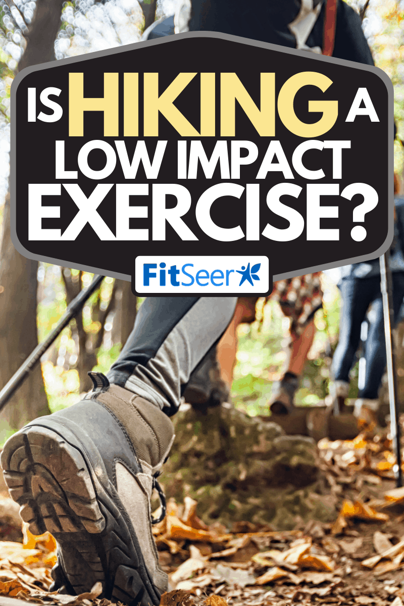Group of hikers with trekking poles climbs steep on mountain trail, Is Hiking a Low Impact Exercise?