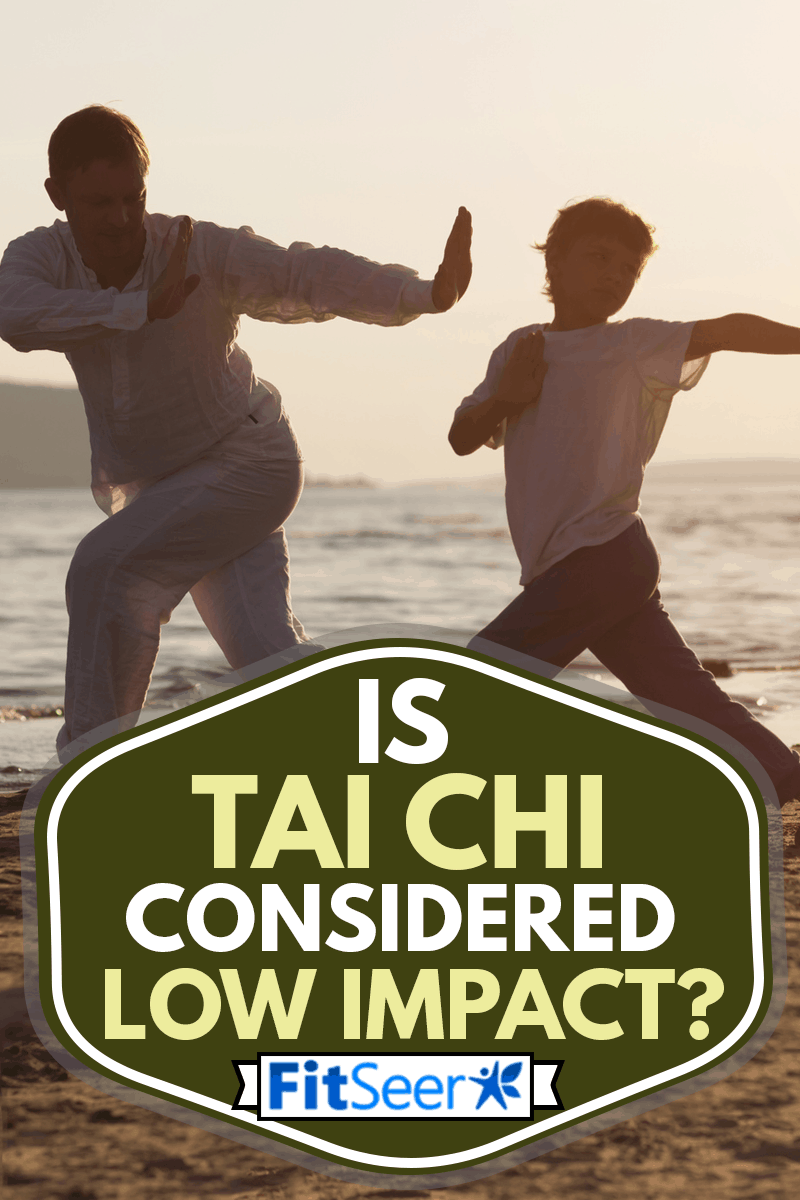 Dad and son practicing Tai Chi Chuan in the summer on the beach