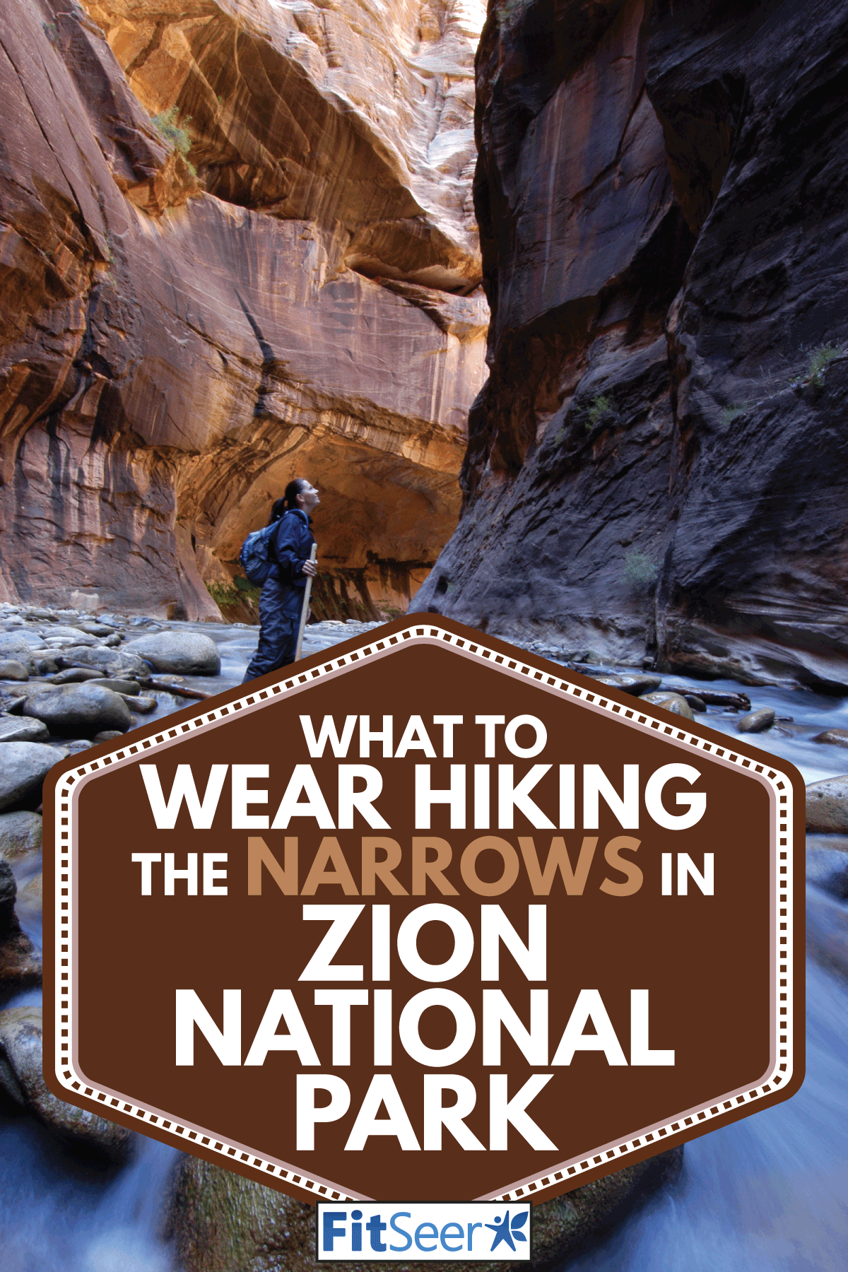 Woman looking up from the narrows while hiking, What To Wear Hiking The Narrows In Zion National Park
