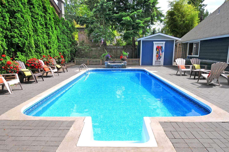 An empty backyard pool