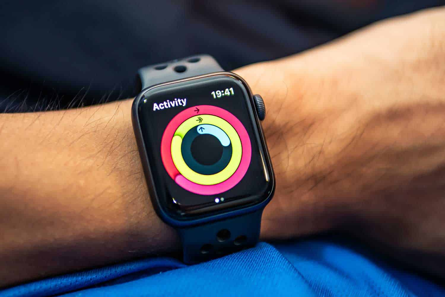 Apple Watch Nike+ Series 4 showing its screen with Activity Rings