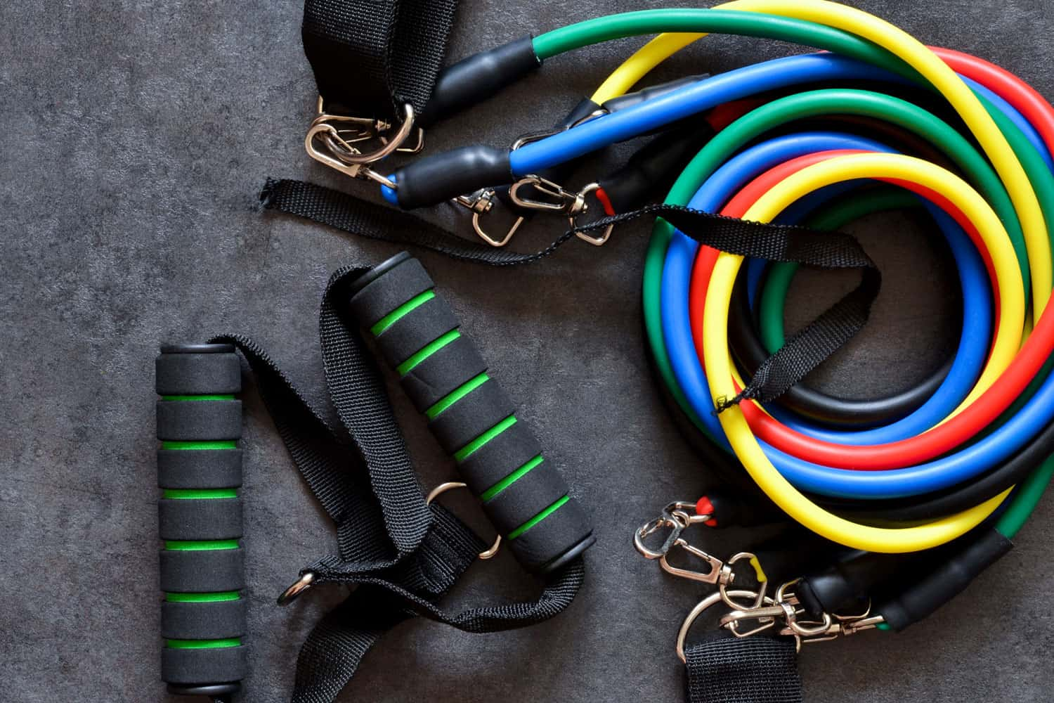 A top view of resistance bands and other gym workout equipments