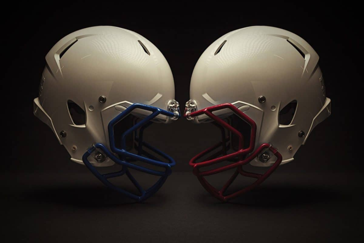 Profile of two helmets face to face