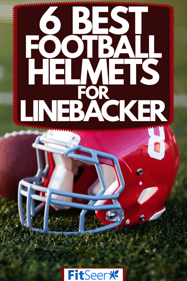 A red colored helmet with the number eight and a football on the side, 6 Best Football Helmets For Linebacker