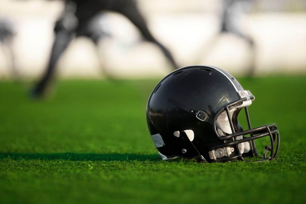 A black colored linebacker helmet