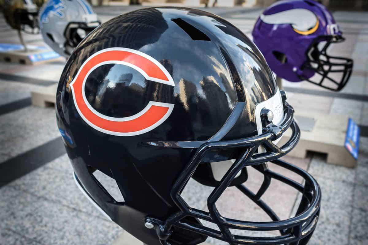 A black colored football helmet for display