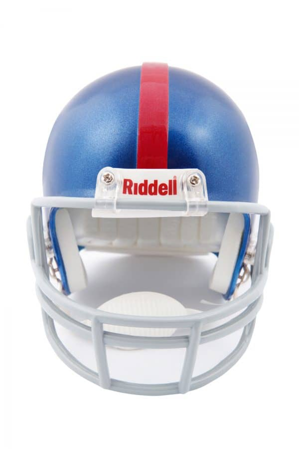 A blue with a red stripe football helmet