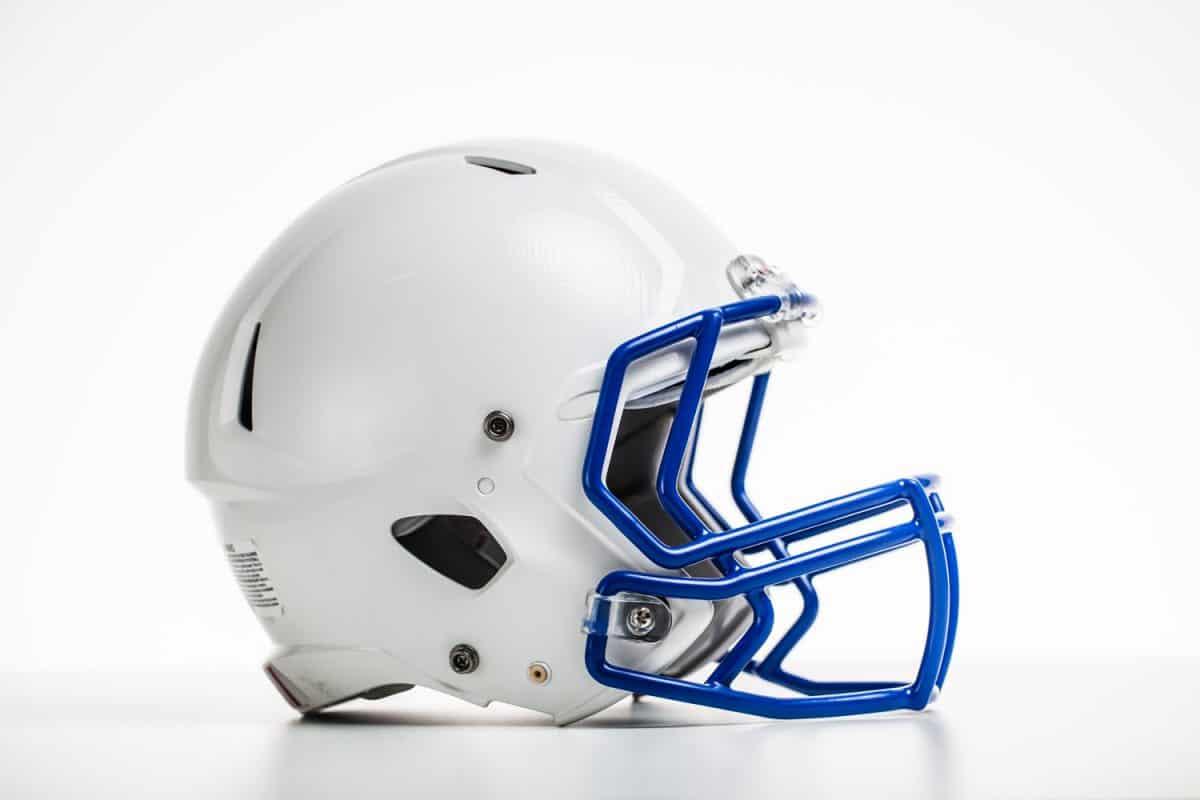 A white football helmet on a white background