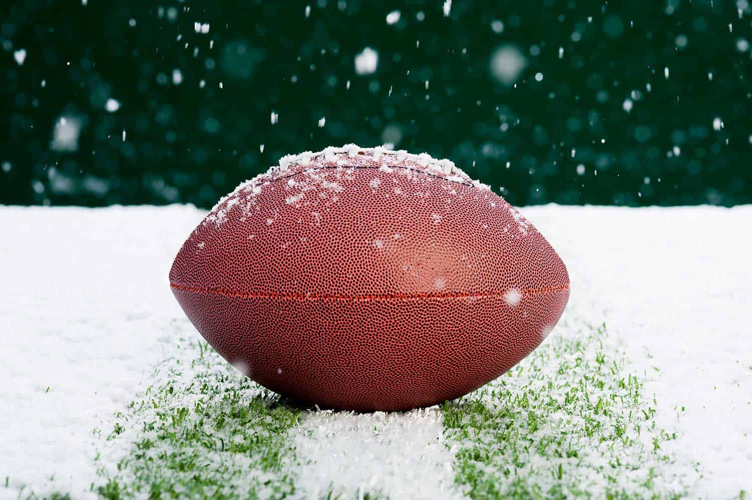 American football on snow covered grass