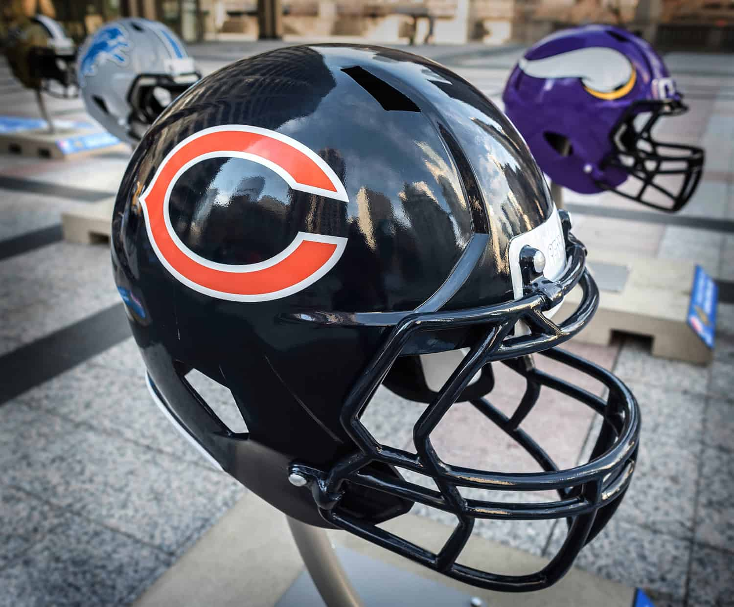Big helmets in downtown Chicago, getting ready for the NFL draft.