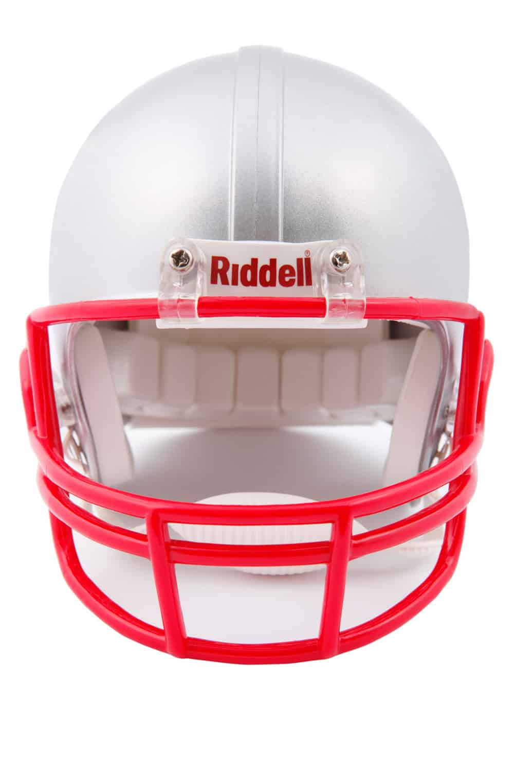Grey American football helmet With Riddell on it. All is on a white background.