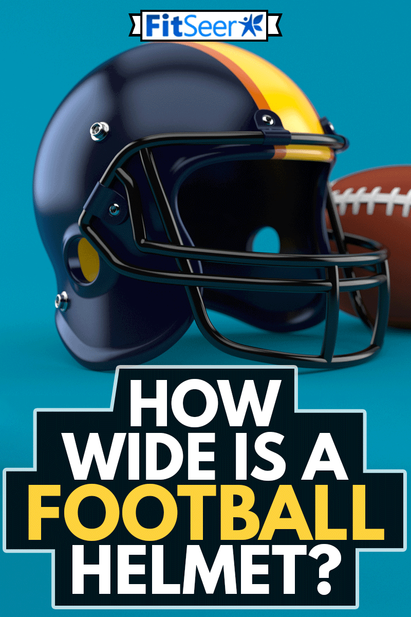 Football helmet with ball isolated on blue background, How Wide Is A Football Helmet?