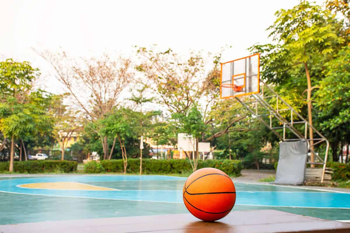 Basketball on the wooden chair Background basketball court and park, Can You Play Basketball On Dirt, Gravel, Or Grass?