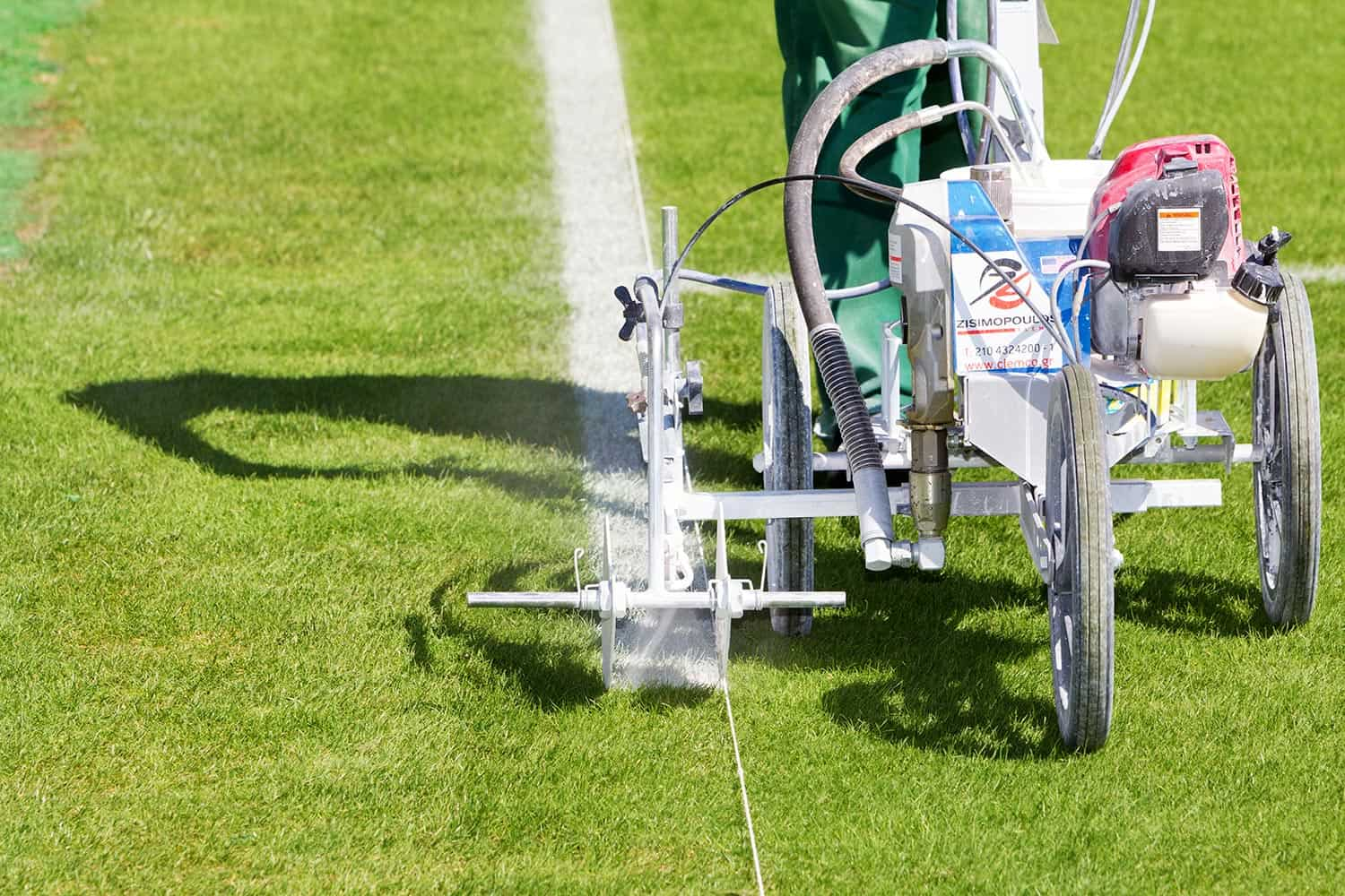 Painting lines in the football field