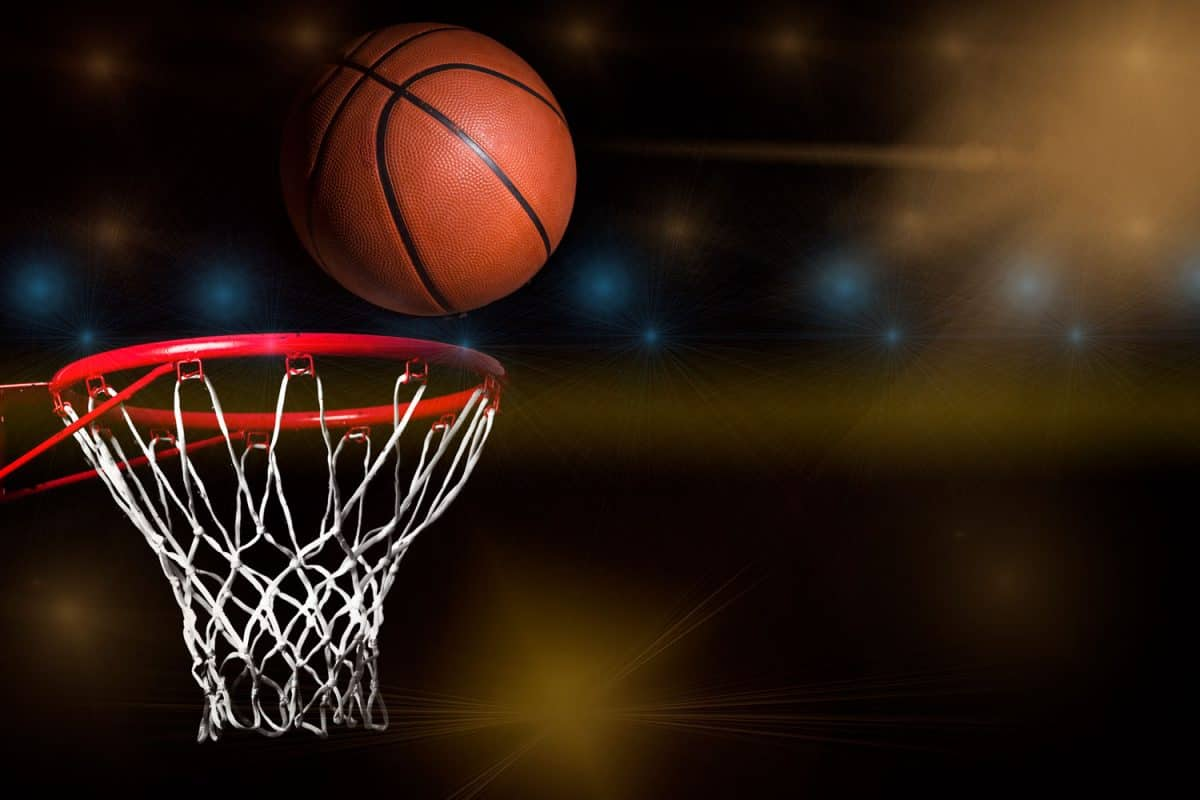 Shooting a ball to the basketball hoop